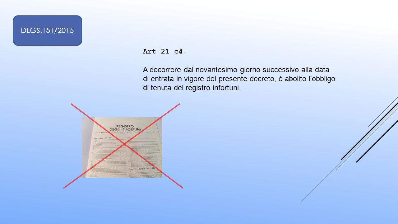 Art 21 c4. A decorrere dal novantesimo giorno successivo alla data di entrata in vigore del presente decreto, è abolito l'obbligo di tenuta del regist
