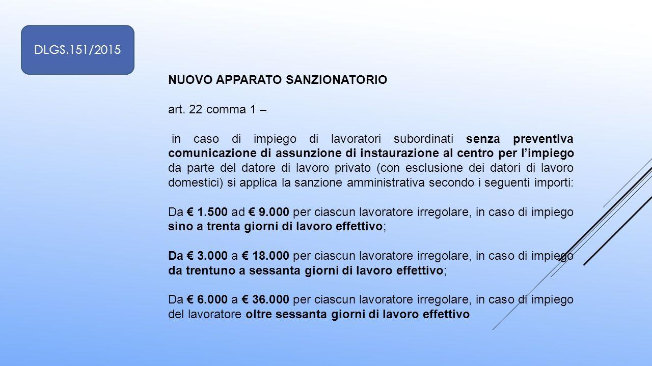 NUOVO APPARATO SANZIONATORIO art. 22 comma 1 – in caso di impiego di lavoratori subordinati senza preventiva comunicazione di assunzione di instaurazi