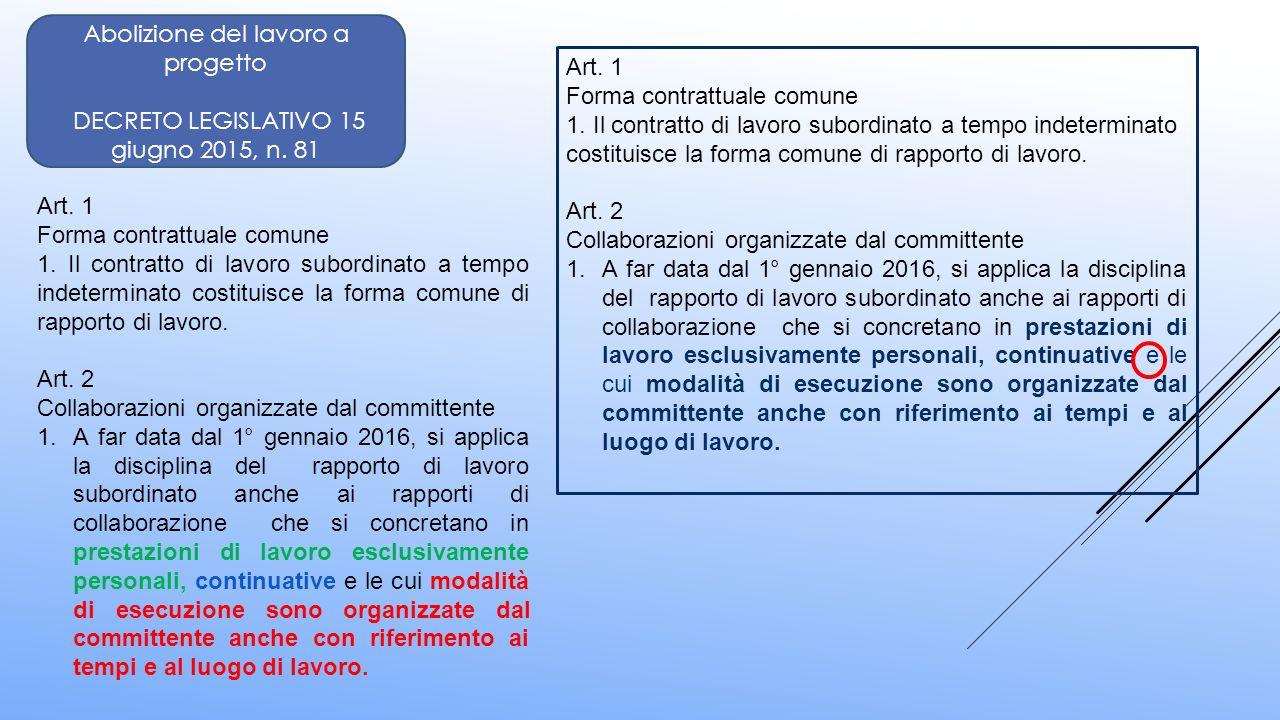 Abolizione del lavoro a progetto DECRETO LEGISLATIVO 15 giugno 2015, n. 81 Art. 1 Forma contrattuale comune 1. Il contratto di lavoro subordinato a te