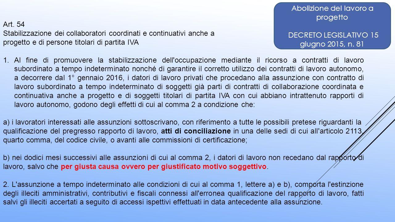 Abolizione del lavoro a progetto DECRETO LEGISLATIVO 15 giugno 2015, n. 81 Art. 54 Stabilizzazione dei collaboratori coordinati e continuativi anche a
