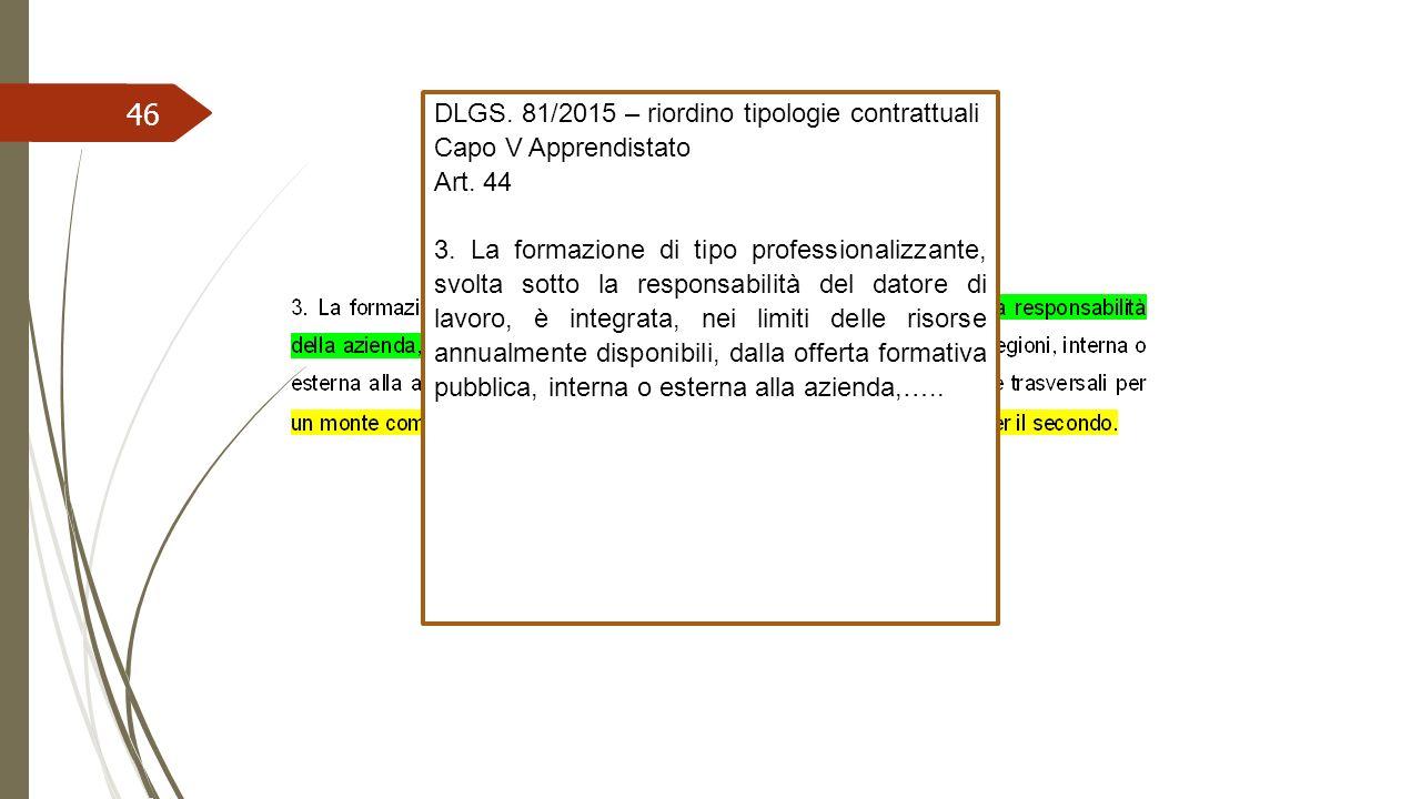 46 DLGS. 81/2015 – riordino tipologie contrattuali Capo V Apprendistato Art. 44 3. La formazione di tipo professionalizzante, svolta sotto la responsa