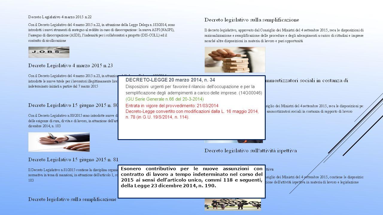 DECRETO-LEGGE 20 marzo 2014, n. 34 Disposizioni urgenti per favorire il rilancio dell'occupazione e per la semplificazione degli adempimenti a carico