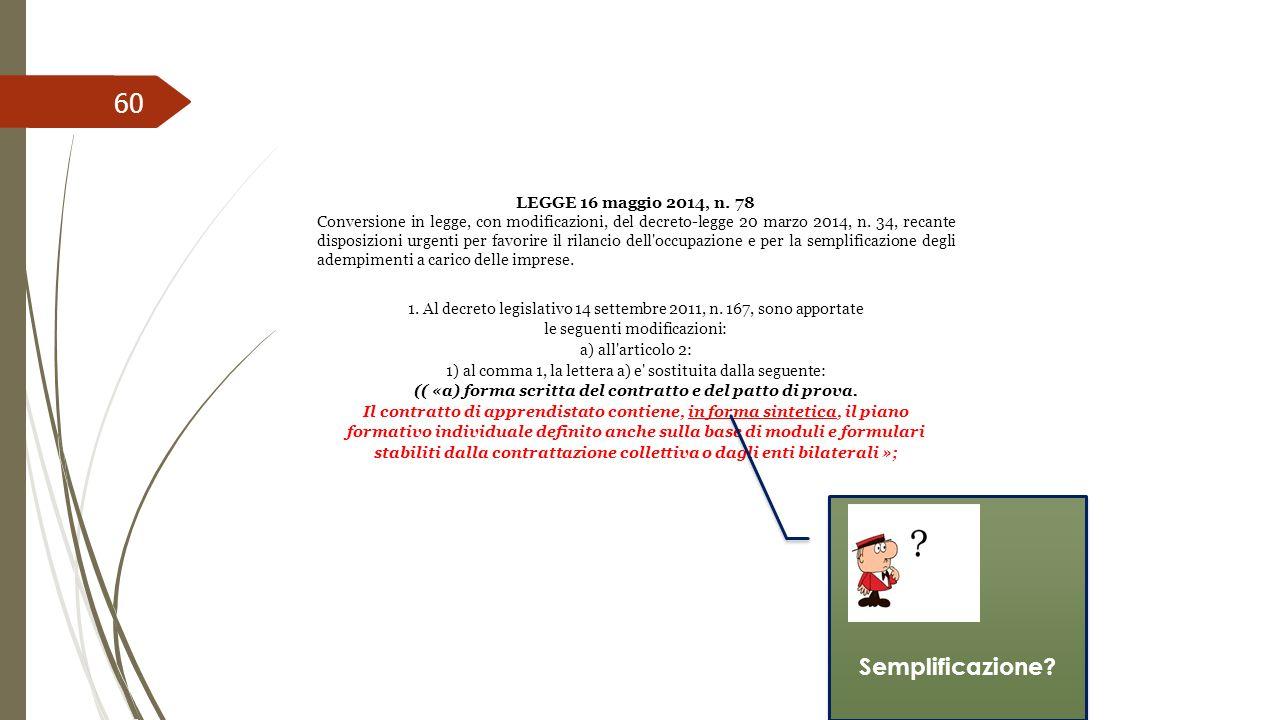 60 LEGGE 16 maggio 2014, n. 78 Conversione in legge, con modificazioni, del decreto-legge 20 marzo 2014, n. 34, recante disposizioni urgenti per favor