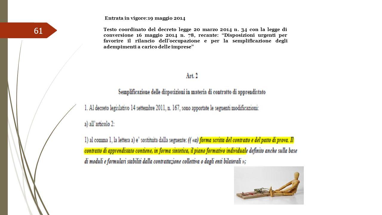61 Entrata in vigore:19 maggio 2014 Testo coordinato del decreto legge 20 marzo 2014 n. 34 con la legge di conversione 16 maggio 2014 n. 78, recante: