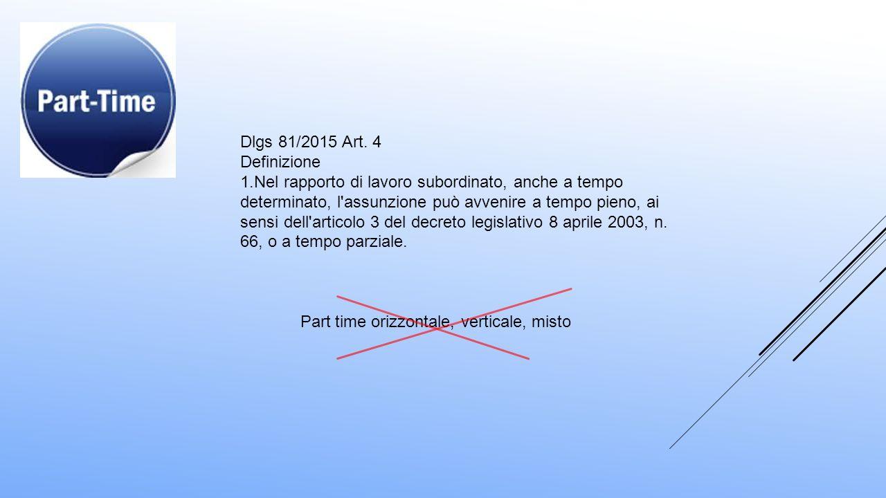 Dlgs 81/2015 Art. 4 Definizione 1.Nel rapporto di lavoro subordinato, anche a tempo determinato, l'assunzione può avvenire a tempo pieno, ai sensi del