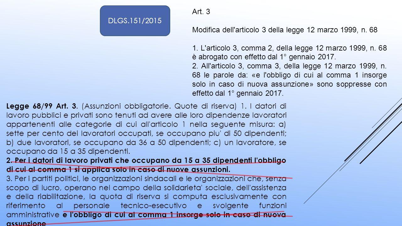 Art. 3 Modifica dell'articolo 3 della legge 12 marzo 1999, n. 68 1. L'articolo 3, comma 2, della legge 12 marzo 1999, n. 68 è abrogato con effetto dal