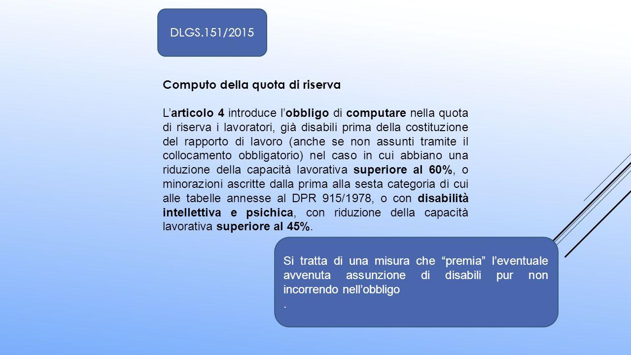 Computo della quota di riserva L'articolo 4 introduce l'obbligo di computare nella quota di riserva i lavoratori, già disabili prima della costituzion