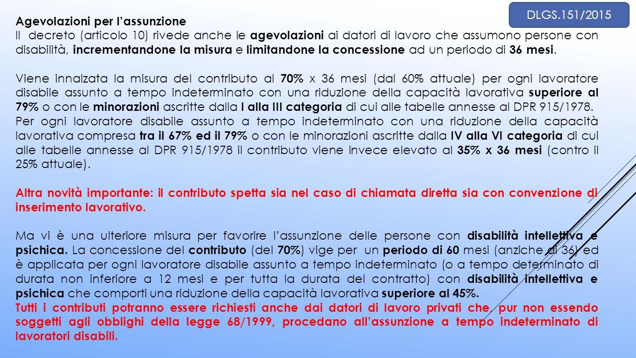 Agevolazioni per l'assunzione Il decreto (articolo 10) rivede anche le agevolazioni ai datori di lavoro che assumono persone con disabilità, increment
