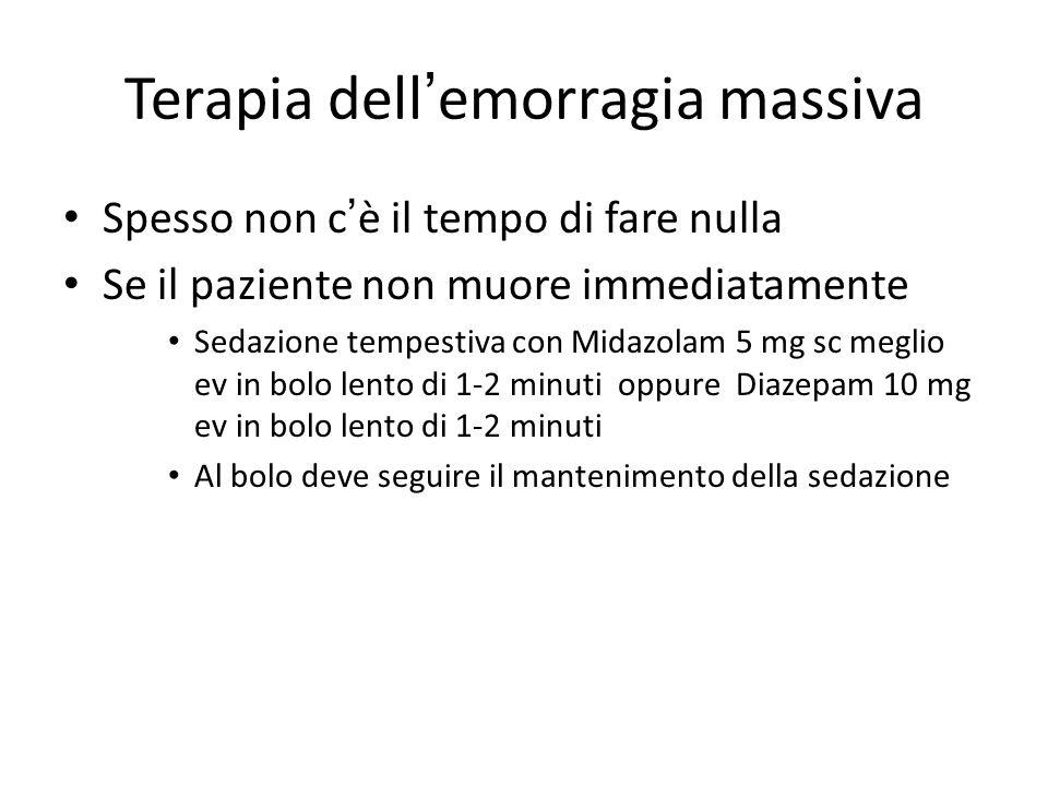 Terapia dell'emorragia massiva Spesso non c'è il tempo di fare nulla Se il paziente non muore immediatamente Sedazione tempestiva con Midazolam 5 mg s