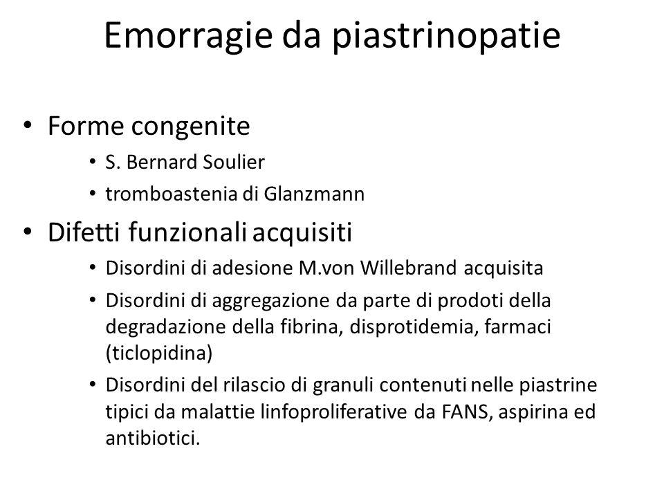 Emorragie da piastrinopatie Forme congenite S. Bernard Soulier tromboastenia di Glanzmann Difetti funzionali acquisiti Disordini di adesione M.von Wil