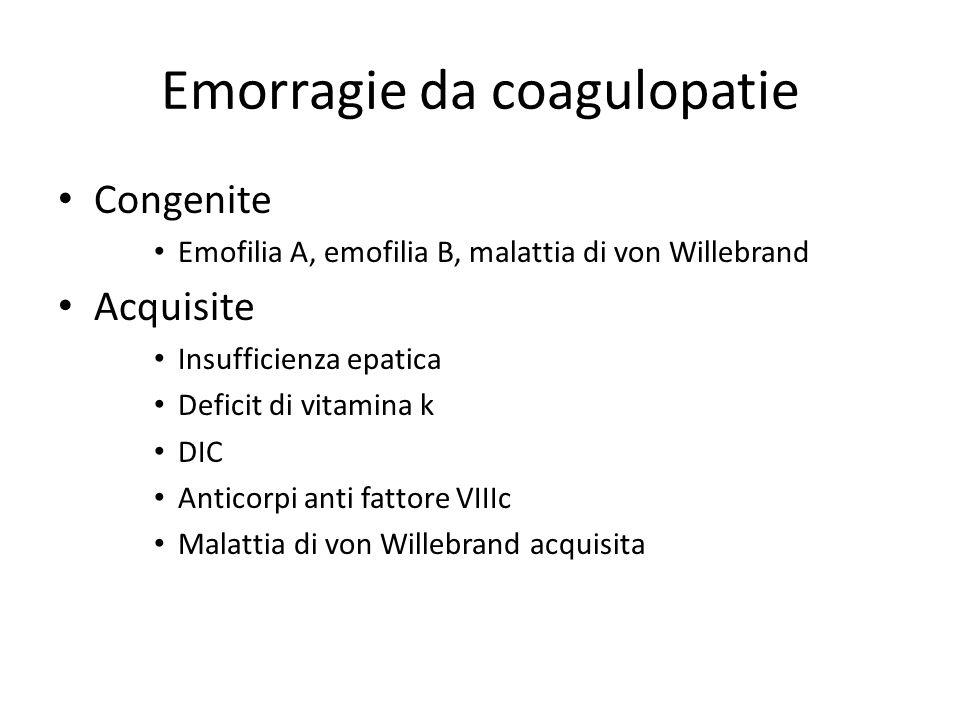 Emorragie da coagulopatie Congenite Emofilia A, emofilia B, malattia di von Willebrand Acquisite Insufficienza epatica Deficit di vitamina k DIC Antic
