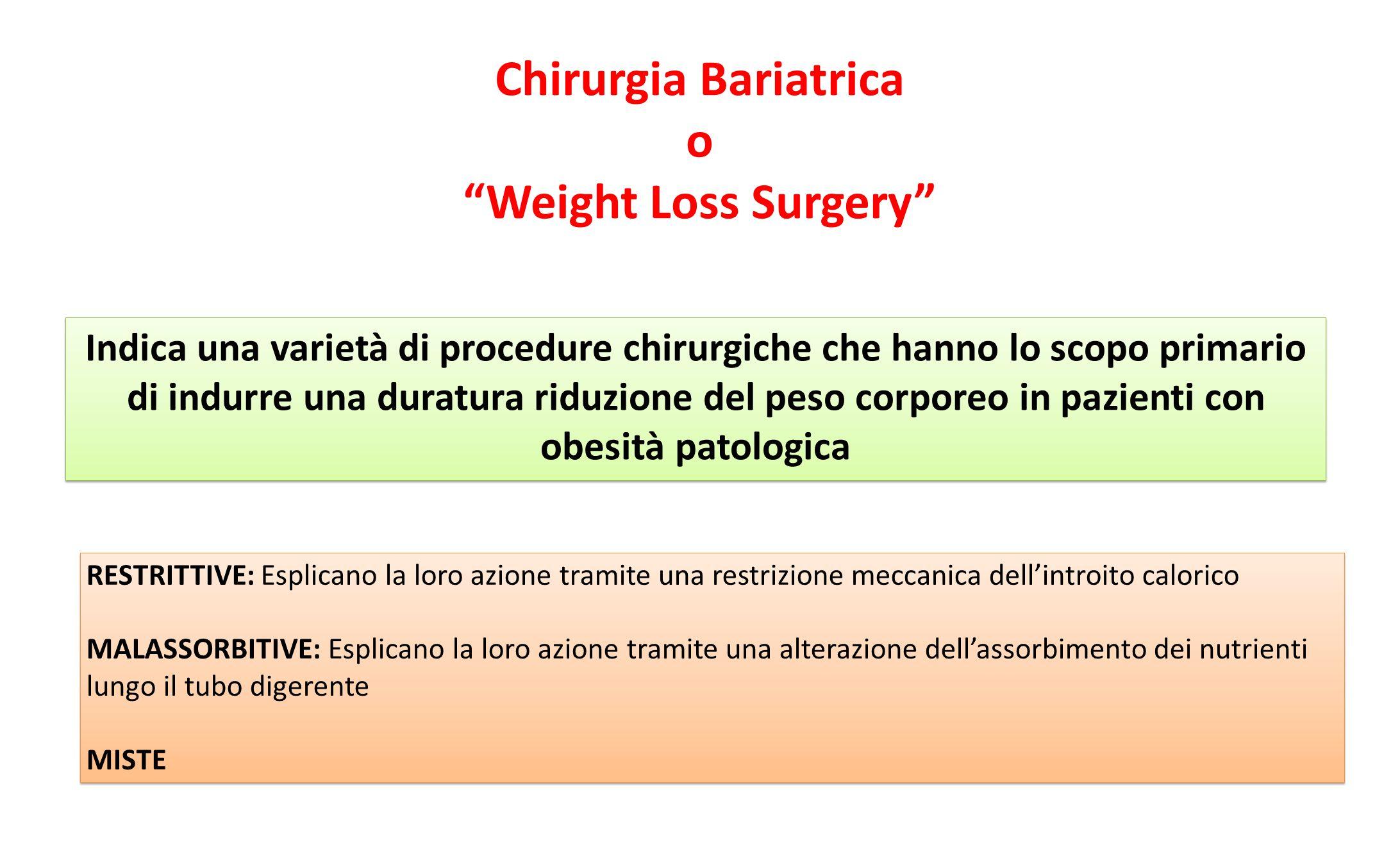 """Chirurgia Bariatrica o """"Weight Loss Surgery"""" Indica una varietà di procedure chirurgiche che hanno lo scopo primario di indurre una duratura riduzione"""