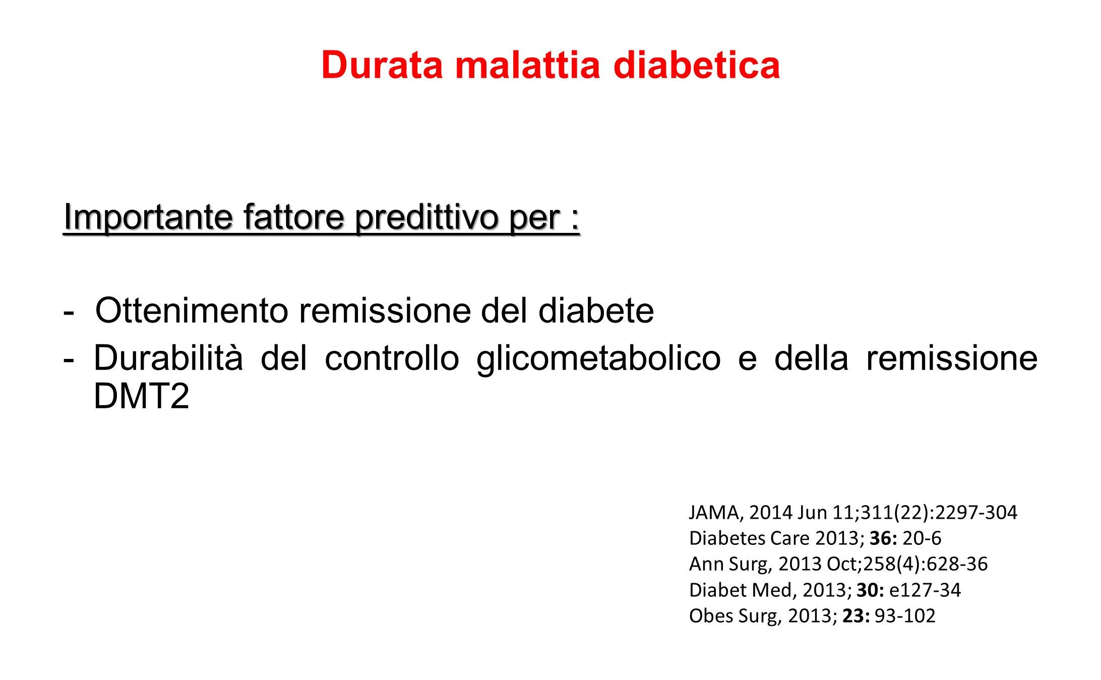 Durata malattia diabetica Importante fattore predittivo per : - Ottenimento remissione del diabete -Durabilità del controllo glicometabolico e della r