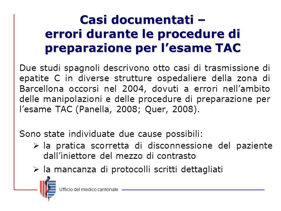 Ufficio del medico cantonale Casi documentati – errori durante le procedure di preparazione per l'esame TAC Due studi spagnoli descrivono otto casi di