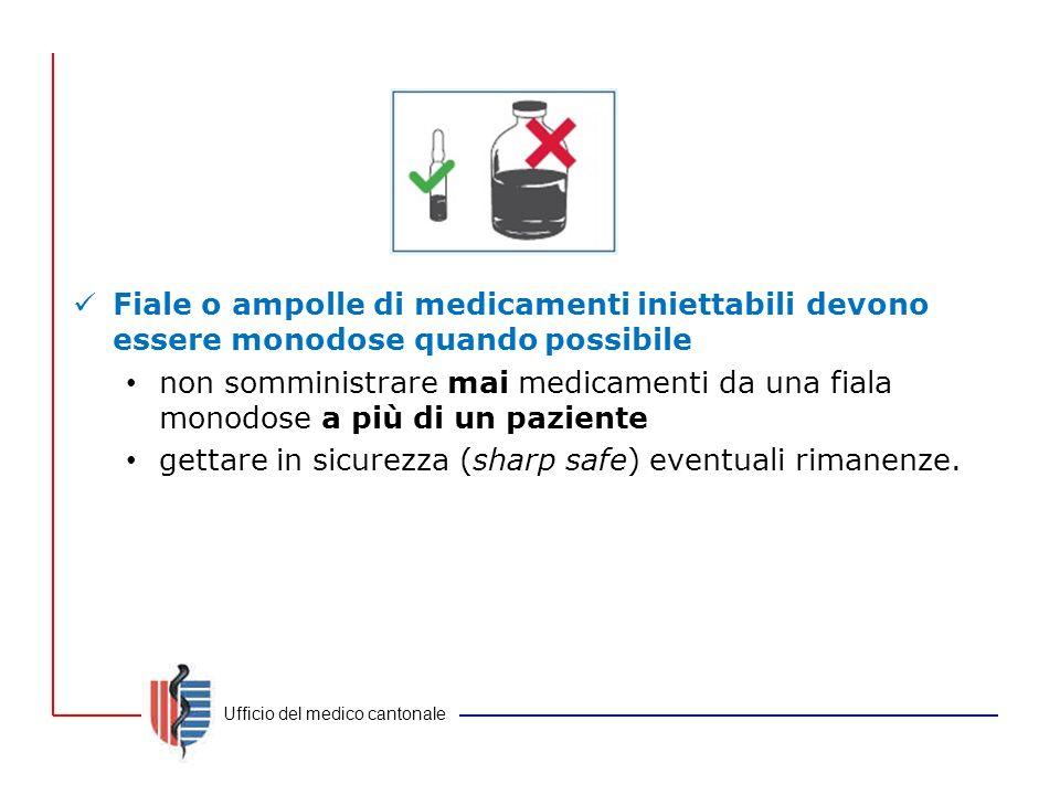 Ufficio del medico cantonale Fiale o ampolle di medicamenti iniettabili devono essere monodose quando possibile non somministrare mai medicamenti da u