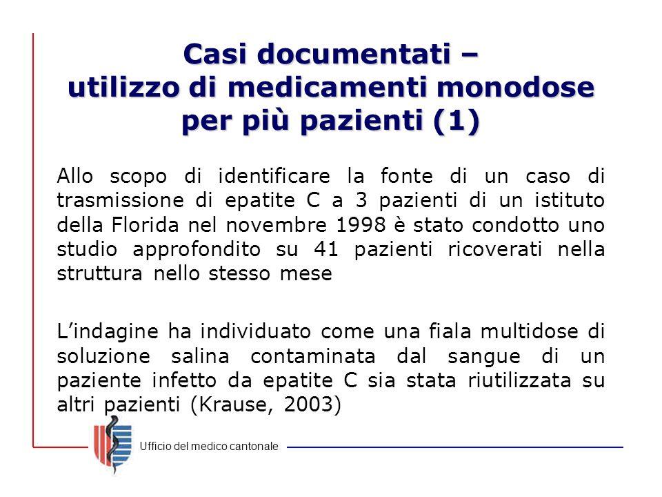 Ufficio del medico cantonale Casi documentati – utilizzo di medicamenti monodose per più pazienti (1) Allo scopo di identificare la fonte di un caso d
