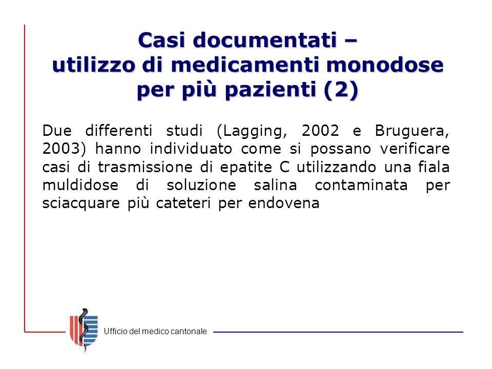 Ufficio del medico cantonale Casi documentati – utilizzo di medicamenti monodose per più pazienti (2) Due differenti studi (Lagging, 2002 e Bruguera,