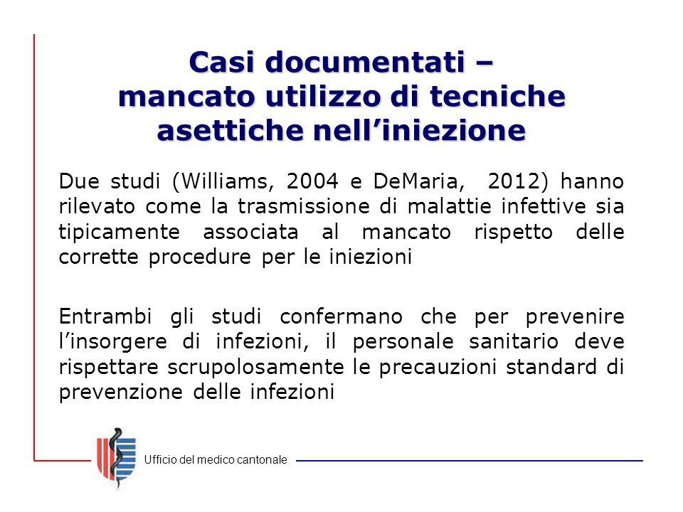 Ufficio del medico cantonale Casi documentati – mancato utilizzo di tecniche asettiche nell'iniezione Due studi (Williams, 2004 e DeMaria, 2012) hanno