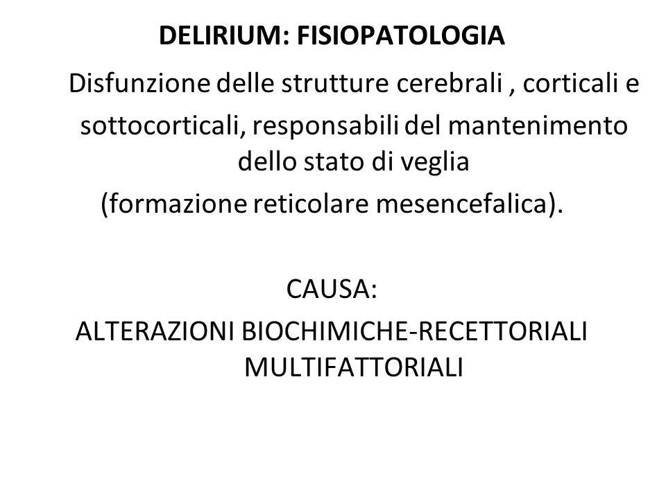 CAUSE DI DELIRIUM 1.Condizioni metaboliche a.Intossicazione da tossine endogene (uremia, encefalopatia epatica …..) b.Ipossiemia c.Disidratazione d.Squilibrio elettrolitico: ipercalcemia, ipo- ipernatriemia, ipomagnesiemia e.Ipo-iperglicemia f.Ipotiroidismo 2.Tossine esogene: sepsi 3.Farmaci: a.Effetto collaterale b.Withdrawal (brusca cessazione della somministrazione!) c.Astinenza