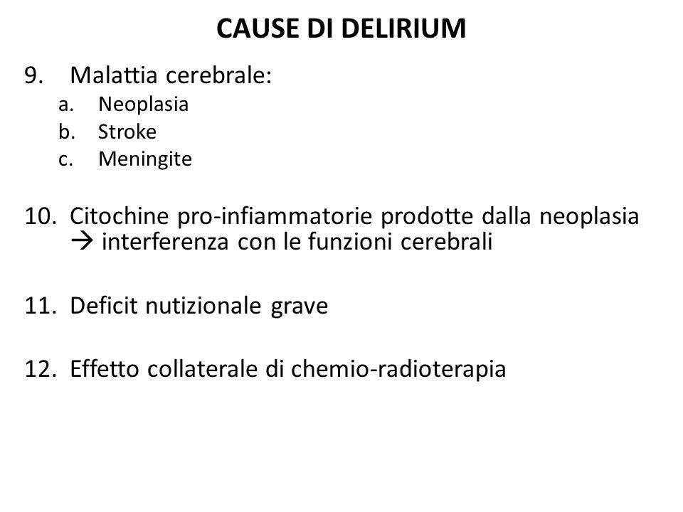 CAUSE DI DELIRIUM 9.Malattia cerebrale: a.Neoplasia b.Stroke c.Meningite 10.Citochine pro-infiammatorie prodotte dalla neoplasia  interferenza con le
