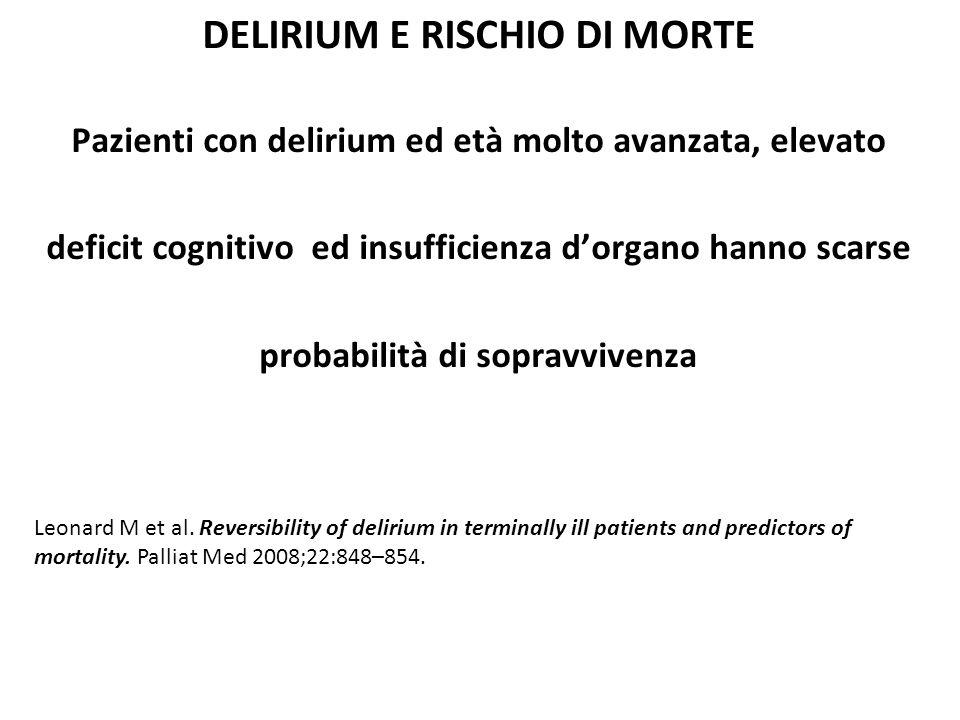 Fattori di rischio per lo sviluppo di delirium Piccolo studio prospettico su 145 casi identifica 5 fattori di rischio: Età avanzata Deficit cognitivo preesistente Ipoalbuminemia Metastasi ossee Neoplasia ematologica Ljubisavljelic V et al.