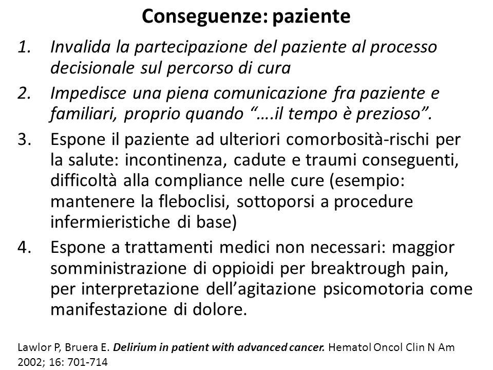 Conseguenze: paziente 1.Invalida la partecipazione del paziente al processo decisionale sul percorso di cura 2.Impedisce una piena comunicazione fra p