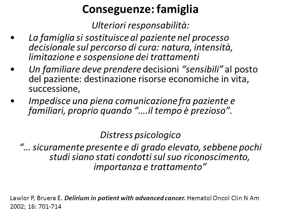 Conseguenze: famiglia Ulteriori responsabilità: La famiglia si sostituisce al paziente nel processo decisionale sul percorso di cura: natura, intensit