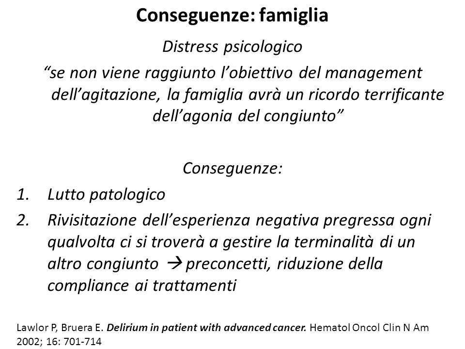 """Conseguenze: famiglia Distress psicologico """"se non viene raggiunto l'obiettivo del management dell'agitazione, la famiglia avrà un ricordo terrificant"""