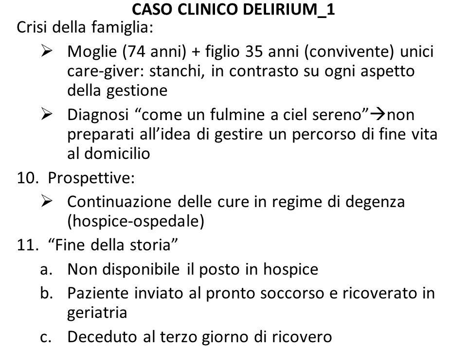 CASO CLINICO DELIRIUM_1 Crisi della famiglia:  Moglie (74 anni) + figlio 35 anni (convivente) unici care-giver: stanchi, in contrasto su ogni aspetto