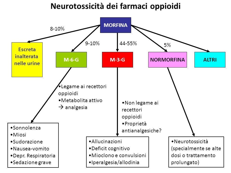 Neurotossicità dei farmaci oppioidi MORFINA ALTRI Escreta inalterata nelle urine 8-10% M-6-G 9-10% M-3-G 44-55% NORMORFINA 5% Neurotossicità (specialm