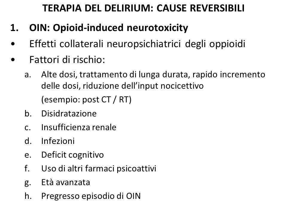 TERAPIA DEL DELIRIUM: CAUSE REVERSIBILI 1.OIN: Tutti gli oppioidi possono dare OIN Sintomi: a.Grave sedazione b.Allucinazioni (spt.