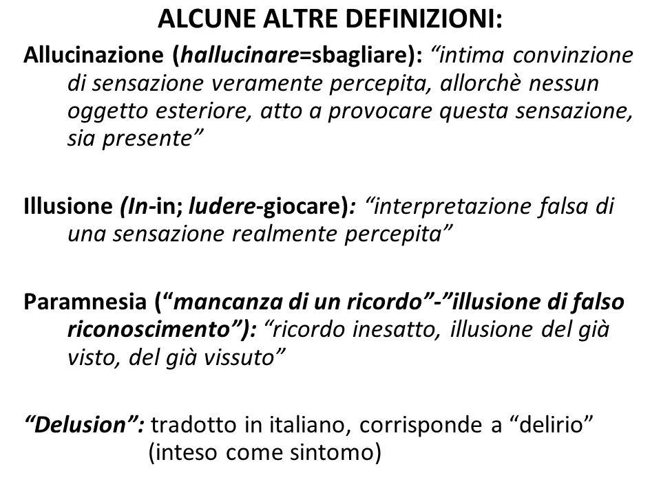 """ALCUNE ALTRE DEFINIZIONI: Allucinazione (hallucinare=sbagliare): """"intima convinzione di sensazione veramente percepita, allorchè nessun oggetto esteri"""