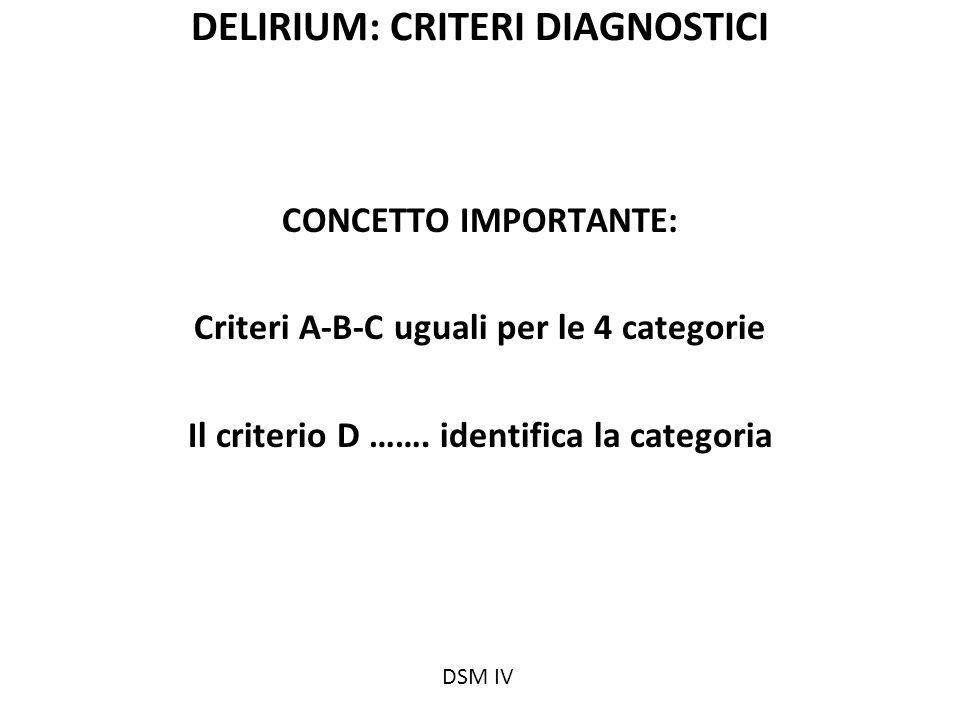 DELIRIUM: CRITERI DIAGNOSTICI CONCETTO IMPORTANTE: Criteri A-B-C uguali per le 4 categorie Il criterio D ……. identifica la categoria DSM IV