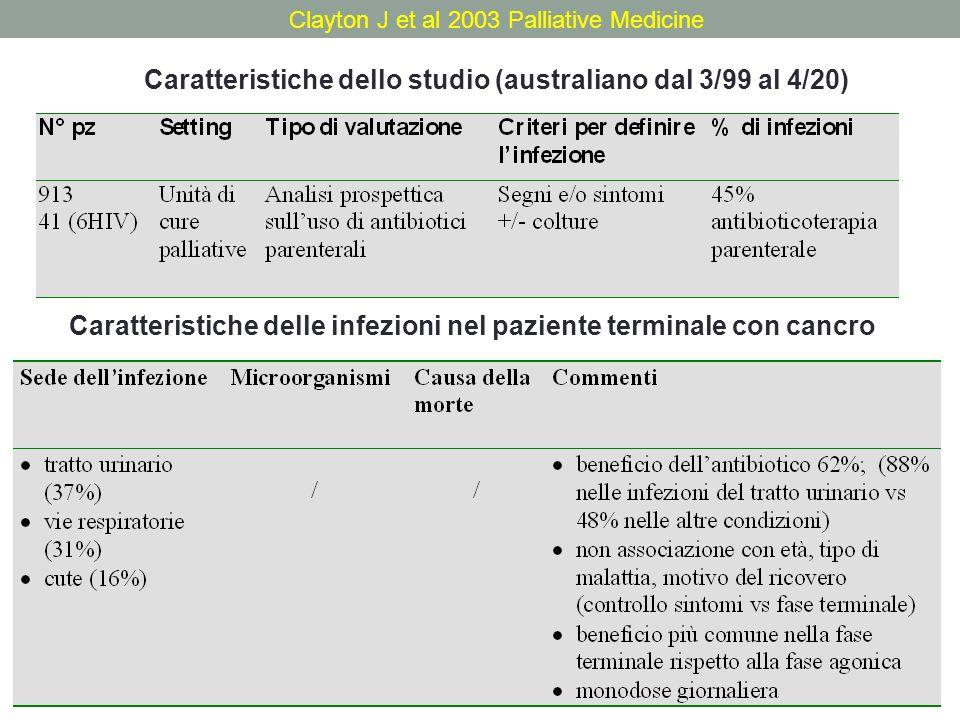 Clayton J et al 2003 Palliative Medicine Caratteristiche dello studio (australiano dal 3/99 al 4/20) Caratteristiche delle infezioni nel paziente term