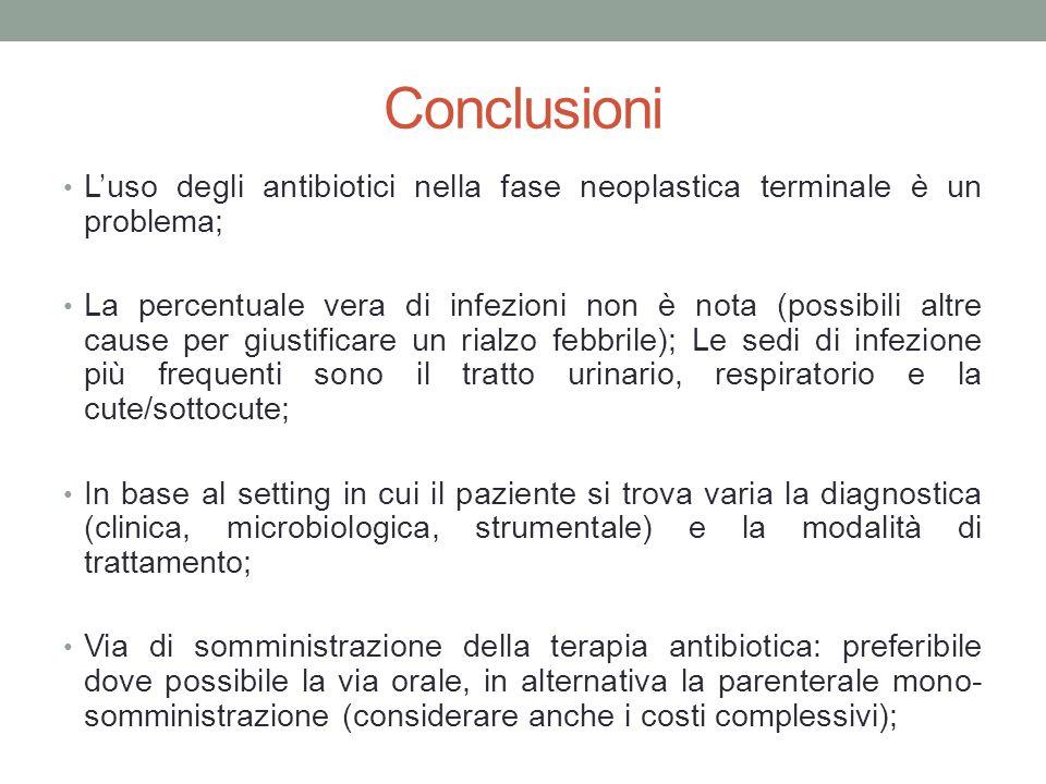 Conclusioni L'uso degli antibiotici nella fase neoplastica terminale è un problema; La percentuale vera di infezioni non è nota (possibili altre cause per giustificare un rialzo febbrile); Le sedi di infezione più frequenti sono il tratto urinario, respiratorio e la cute/sottocute; In base al setting in cui il paziente si trova varia la diagnostica (clinica, microbiologica, strumentale) e la modalità di trattamento; Via di somministrazione della terapia antibiotica: preferibile dove possibile la via orale, in alternativa la parenterale mono- somministrazione (considerare anche i costi complessivi);