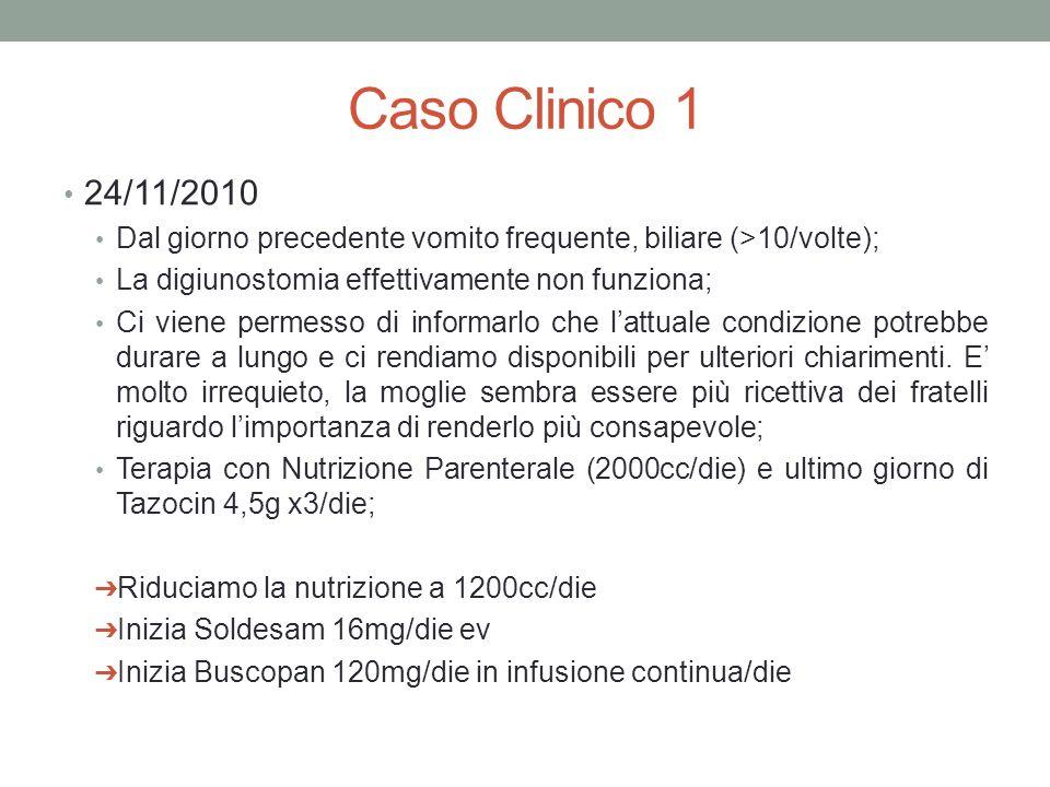Caso Clinico 1 24/11/2010 Dal giorno precedente vomito frequente, biliare (>10/volte); La digiunostomia effettivamente non funziona; Ci viene permesso