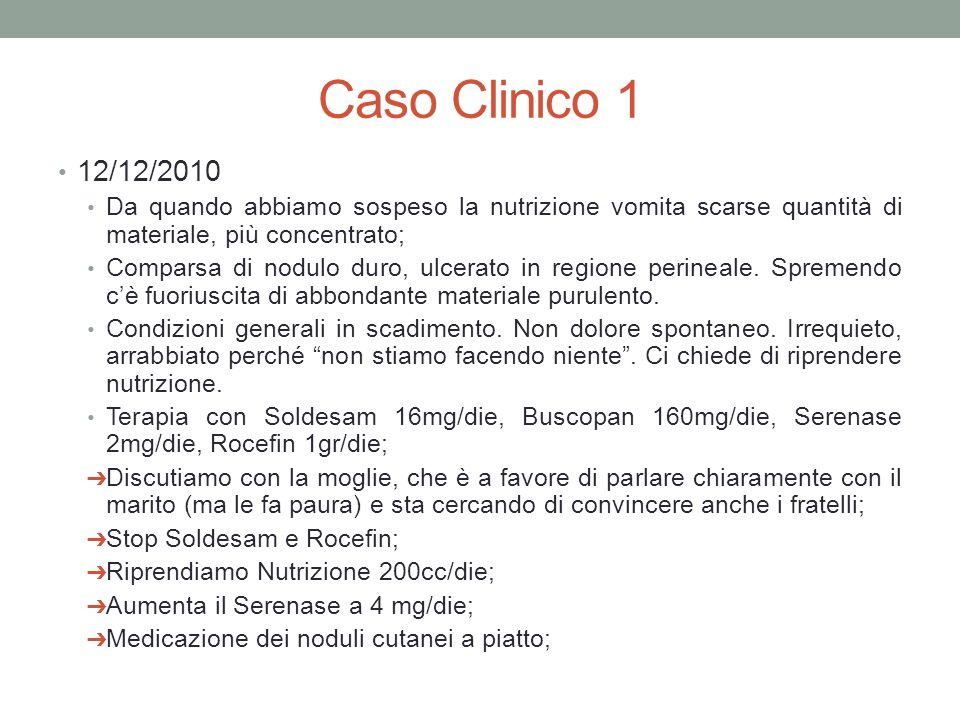 Caso Clinico 1 12/12/2010 Da quando abbiamo sospeso la nutrizione vomita scarse quantità di materiale, più concentrato; Comparsa di nodulo duro, ulcerato in regione perineale.
