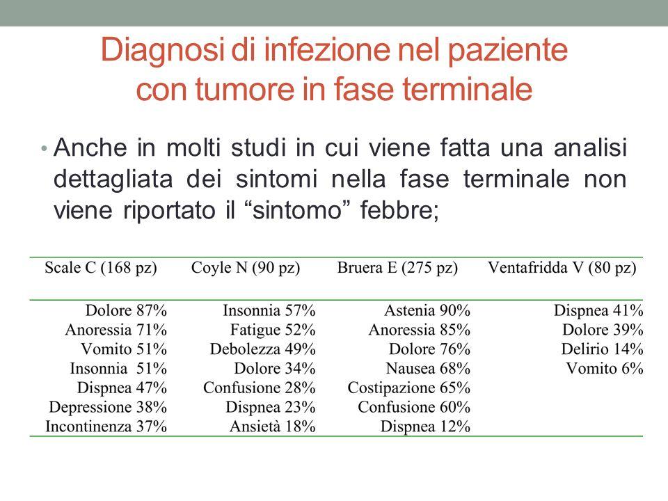 Diagnosi di infezione nel paziente con tumore in fase terminale Anche in molti studi in cui viene fatta una analisi dettagliata dei sintomi nella fase
