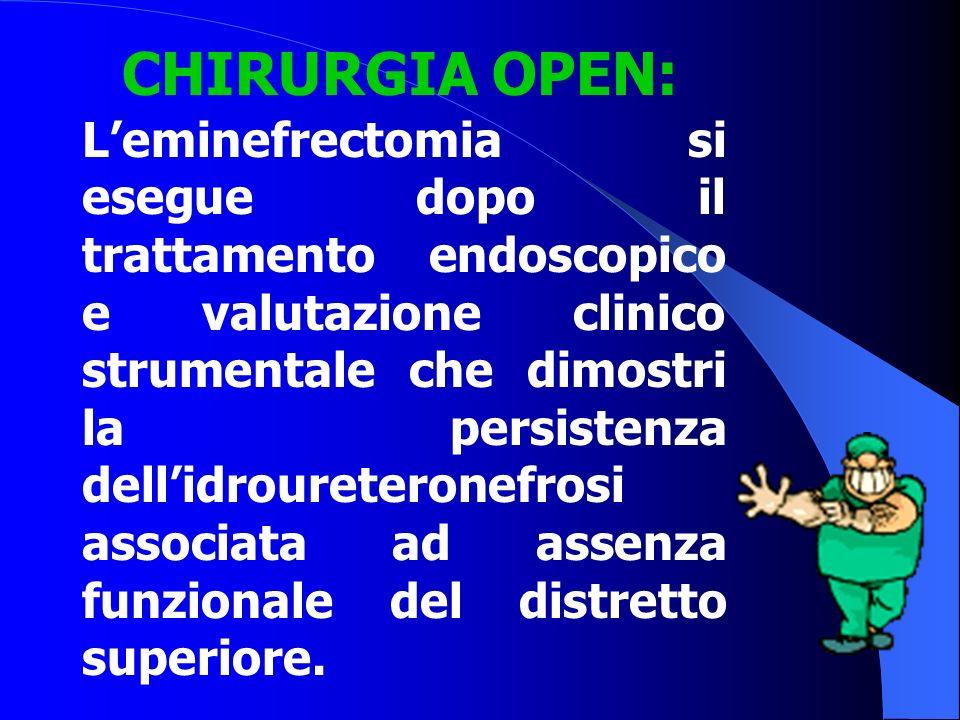 L'eminefrectomia si esegue dopo il trattamento endoscopico e valutazione clinico strumentale che dimostri la persistenza dell'idroureteronefrosi assoc