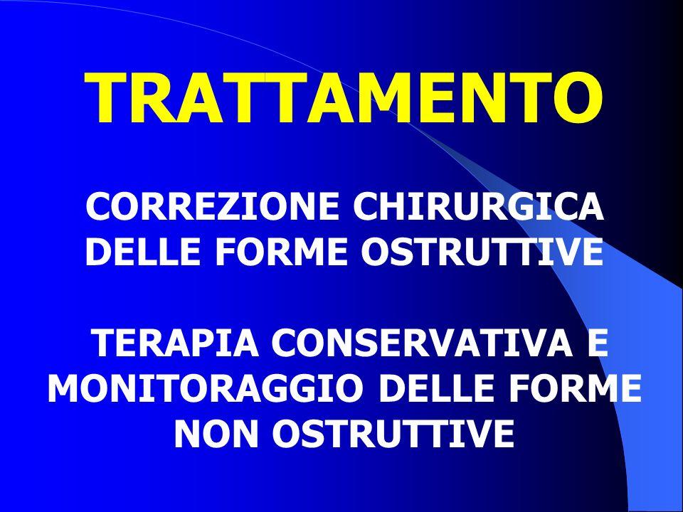 TRATTAMENTO CORREZIONE CHIRURGICA DELLE FORME OSTRUTTIVE TERAPIA CONSERVATIVA E MONITORAGGIO DELLE FORME NON OSTRUTTIVE
