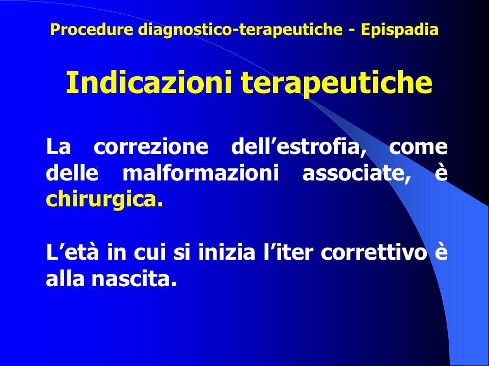 La correzione dell'estrofia, come delle malformazioni associate, è chirurgica. L'età in cui si inizia l'iter correttivo è alla nascita. Indicazioni te