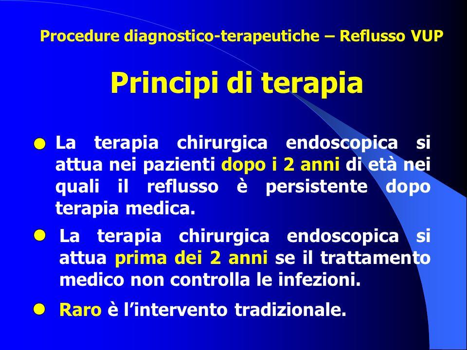Principi di terapia La terapia chirurgica endoscopica si attua prima dei 2 anni se il trattamento medico non controlla le infezioni. La terapia chirur