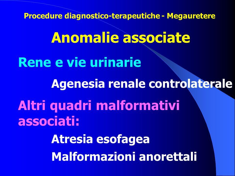 Agenesia renale controlaterale Atresia esofagea Malformazioni anorettali Anomalie associate Rene e vie urinarie Altri quadri malformativi associati: P