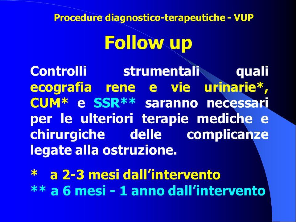 Controlli strumentali quali ecografia rene e vie urinarie*, CUM* e SSR** saranno necessari per le ulteriori terapie mediche e chirurgiche delle compli