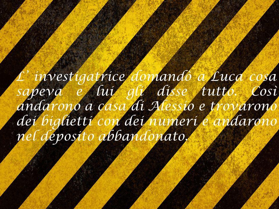 Pochi giorni dopo arrivarono due persone: Luca ed Enrico L' investigatrice fece loro delle domande e quando Enrico non seppe più cosa dire lo misero in cella.