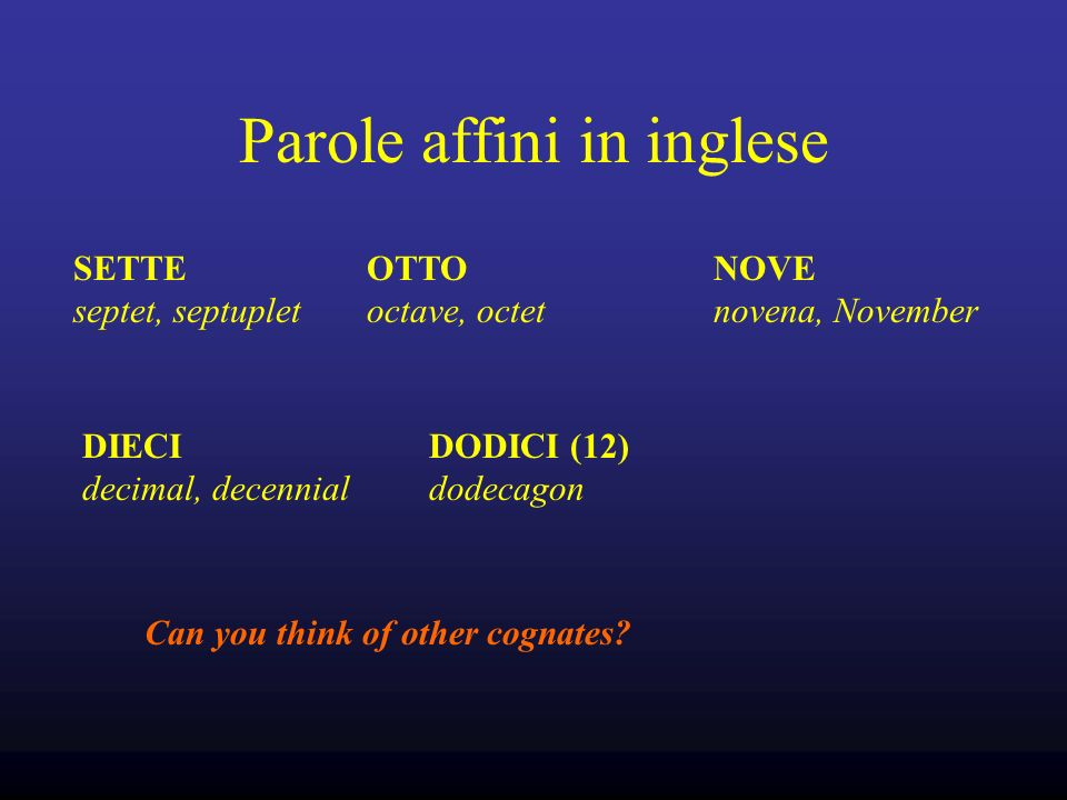 Parole affini in inglese SETTE septet, septuplet OTTO octave, octet NOVE novena, November DIECI decimal, decennial DODICI (12) dodecagon Can you think of other cognates?