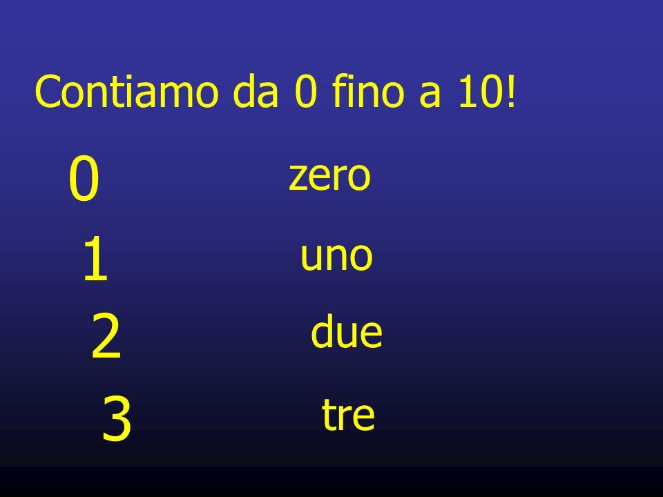 Contiamo da 0 fino a 10! 1 uno 2 due 3 tre 0 zero
