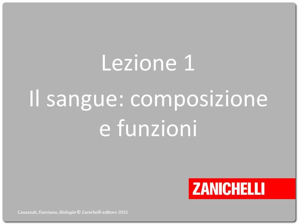 Lezione 1 Il sangue: composizione e funzioni Cavazzuti, Damiano, Biologia © Zanichelli editore 2015
