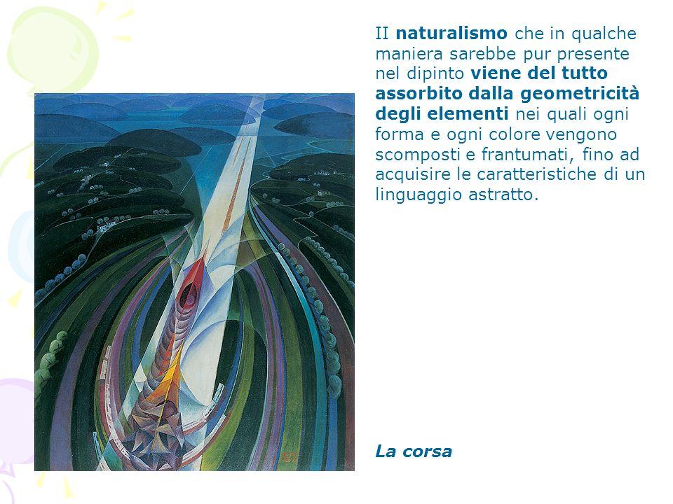 La corsa II naturalismo che in qualche maniera sarebbe pur presente nel dipinto viene del tutto assorbito dalla geometricità degli elementi nei quali