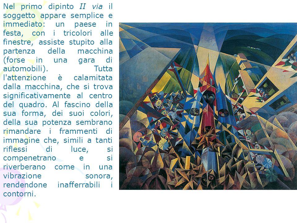 Nel primo dipinto II via il soggetto appare semplice e immediato: un paese in festa, con i tricolori alle finestre, assiste stupito alla partenza dell